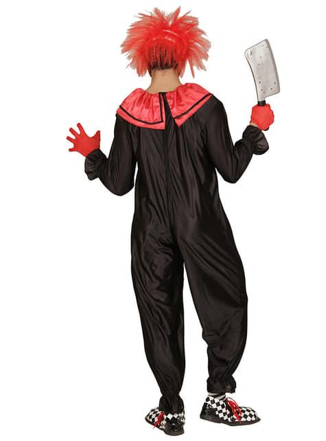 Fato de palhaço preto e vermelho assassino para homem