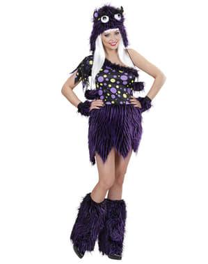 Disfraz de monstruo violeta y negro para mujer