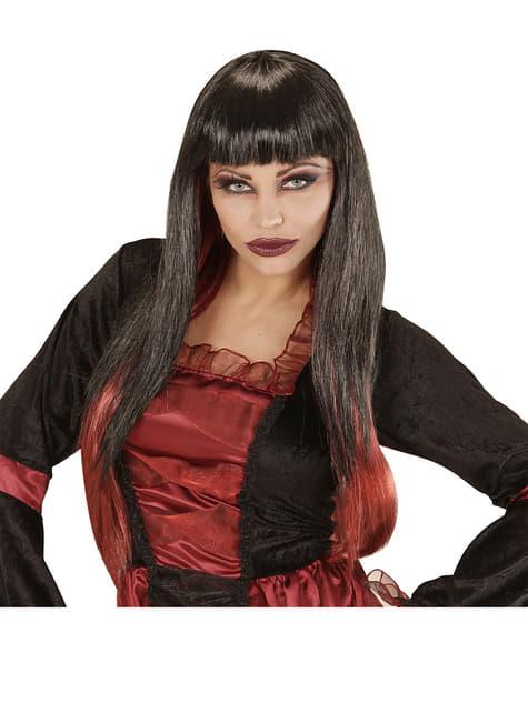 Peluca de vampiresa negra con las puntas rojas
