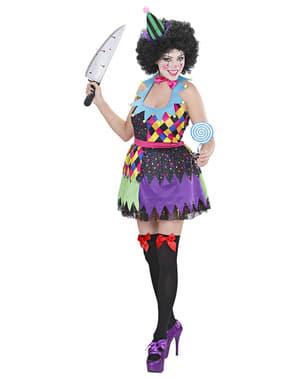 Fato de palhaça colorida para mulher