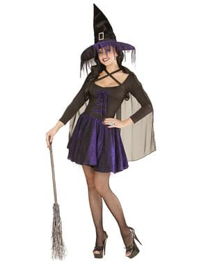 Déguisement de sorcière étincelles violettes pour femme