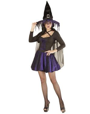 Heks kostuum met paarse glitters voor vrouwen