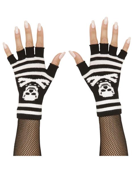 Rękawiczki w paski i czaszki