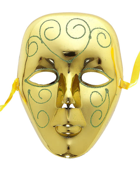 Máscara dorada con glitter verde