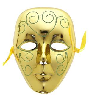 Goudkleurig masker met groene glitters