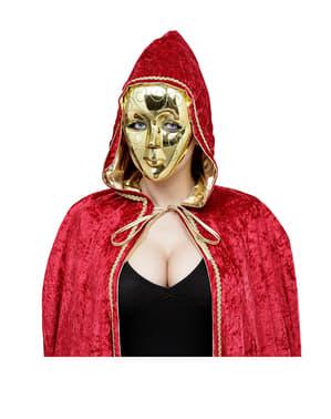 Złota maska z zielonym brokatem