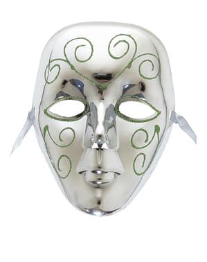 Máscara plateada con glitter verde