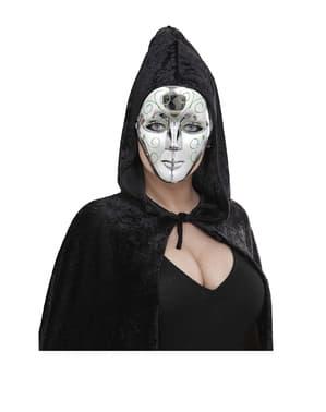 Сребърна маска със зелен блясък