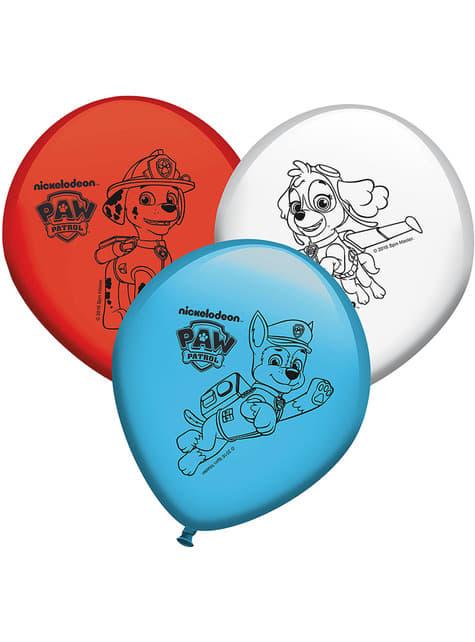 8 globos de Patrulla Canina colores variados (30 cm)