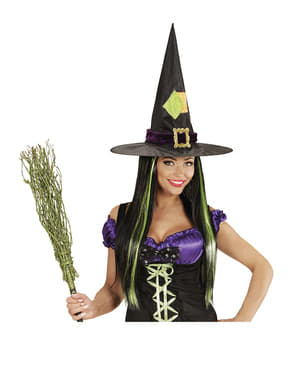 Peluca de bruja con mechas verdes
