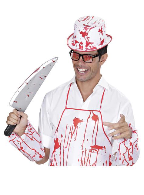 Bílý klobouk se skvrnami od krve