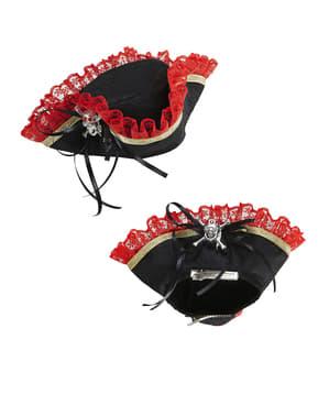 מיני משולשת פירטי כובע עם גולגולת