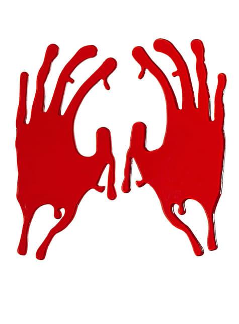 Conjunto de dois autocolantes de mãos sangrentas