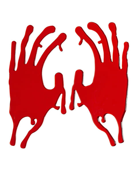 2 stickers bloody hands