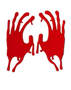 2 Halloween stickers bebloede handen