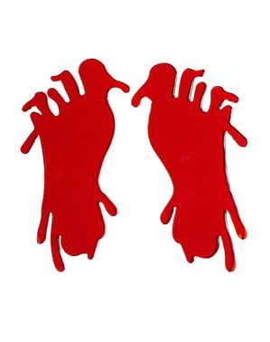 2 Halloween bebloede voeten stickers