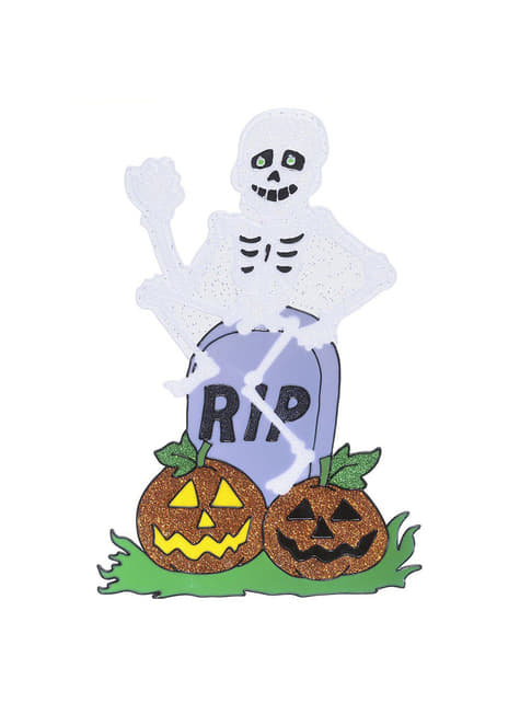 Skeleton with Tombstone Window Sticker