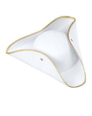 Třírohý klobouk bílý