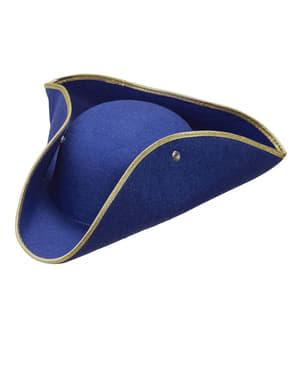 Blauwe hoed met opgeslagen randen