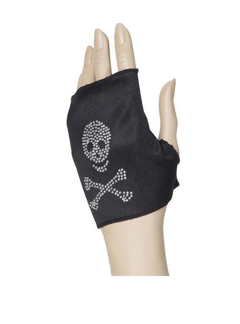 Guante sin dedos de calavera pirata