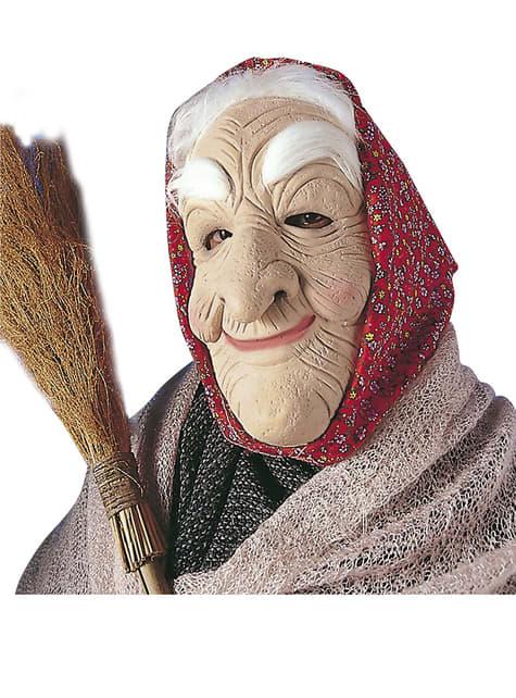 Maska stara czarownica z baśni z włosami i chustą