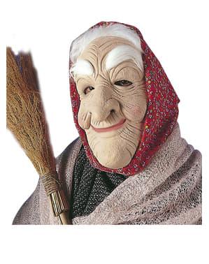 Alte Märchenhexe Maske mit Haaren und Kopftuch