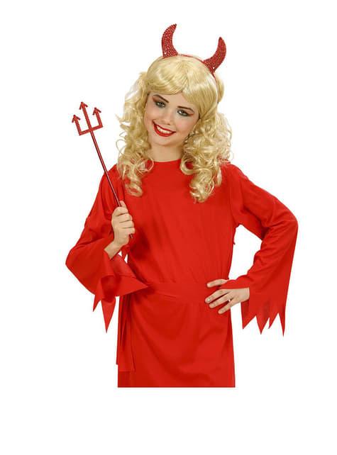 Set de cuernos y tridente de diablo rojo - para tu disfraz