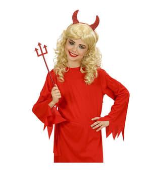 Conjunto de cornos e tridente de diabo vermelho