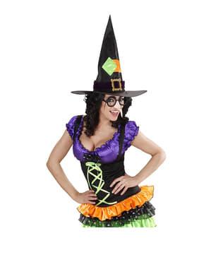 Óculos de bruxa com nariz e sobrancelhas pretas