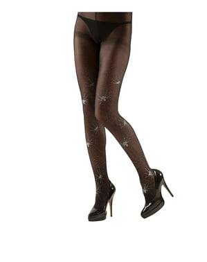 Plus Size Tights with Cobwebs and Purple Glitter