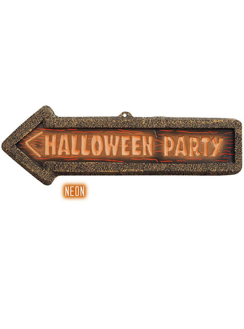 Halloween Party Schild 3D fluoreszierend
