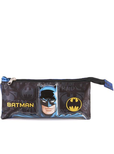 Estuche Batman con tres compartimentos negro