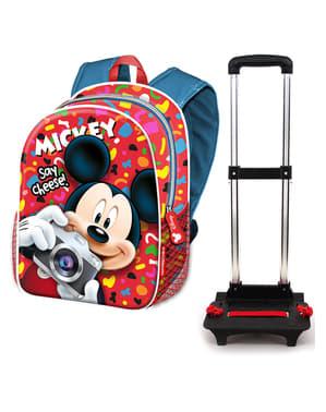 Sac à dos à roulettes Mickey Mouse rouge - Disney