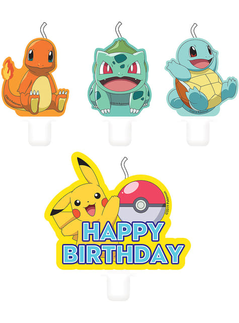 4 candele dei personaggi Pokémo (5,5 - 7,8 cm) - Pokémon Collection
