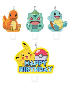 Sett med 4 Pokémon Karakterer Stearinlys - Pokémon Kolleksjon