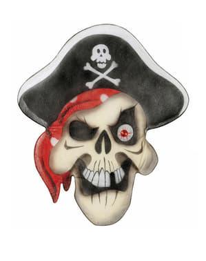 Caveira pirata em seda com olho de pedra