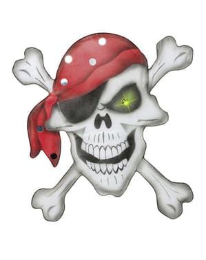 Czaszka pirata z chustką z szyfonu