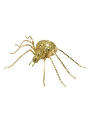 Aranha com purpurina dourada