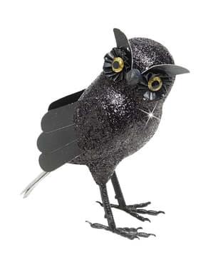 Búho grande con purpurina negra