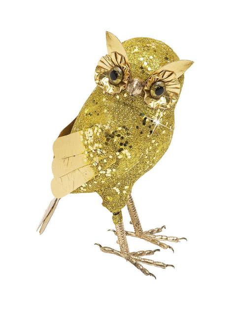 Coruja grande com purpurina dourada
