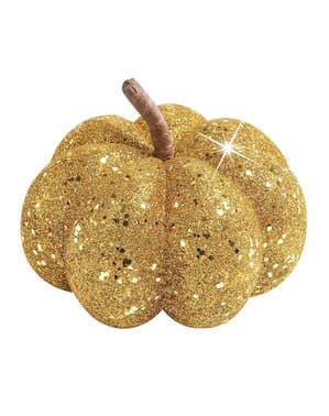 Pumpa med guldgul glitter Dekoration