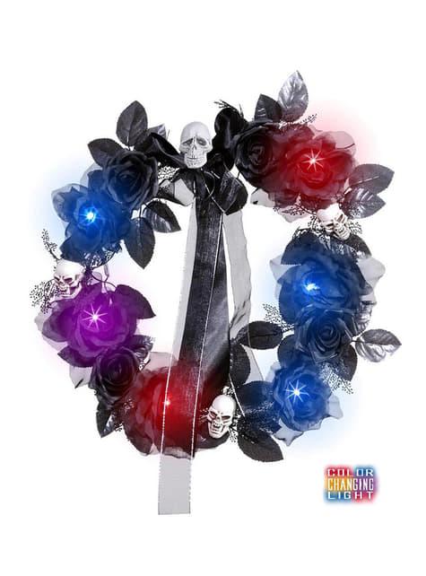 Corona de calaveras y rosas negras con luz cambiante - para tus fiestas