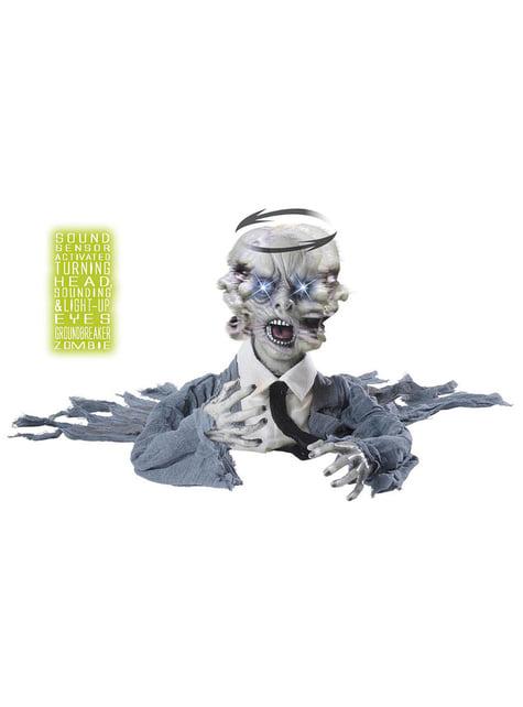 Zombie arrastrado con cabeza giratoria sonido y luz - para tus fiestas