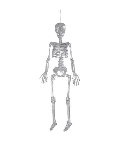 Esqueleto colgante de purpurina plateada (29 cm)