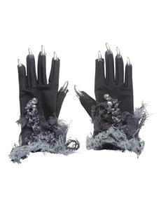 Guanti con unghie argentate e campanellini