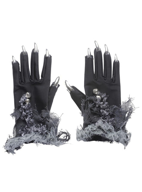 Guantes con uñas plateadas y cascabeles