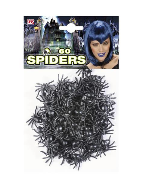 Zestaw 60 czarnych pająków