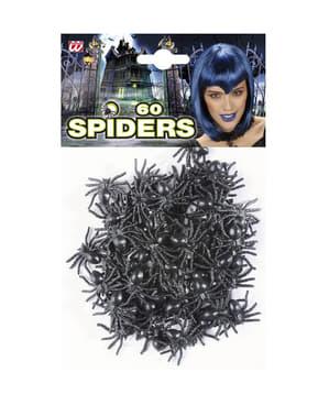 Комплект от 60 черни паяка