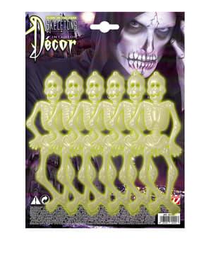 6 scheletri fluorescenti Halloween