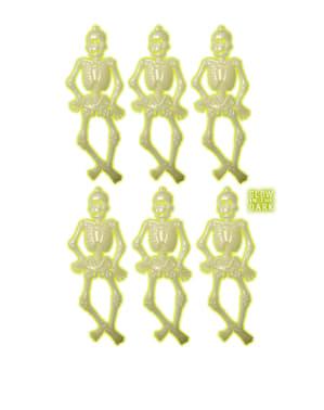 6 esqueletos fluorescentes